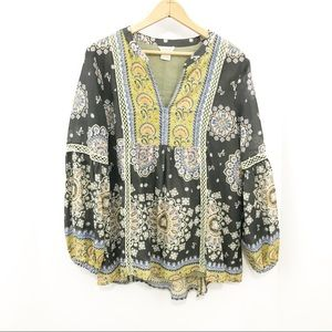 Sundance Catalog Boho Peasant Top Gray Medallion
